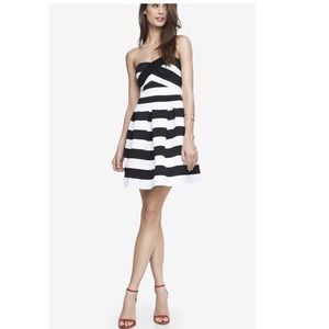 Express Strapless Striped Fit and Flare Dress